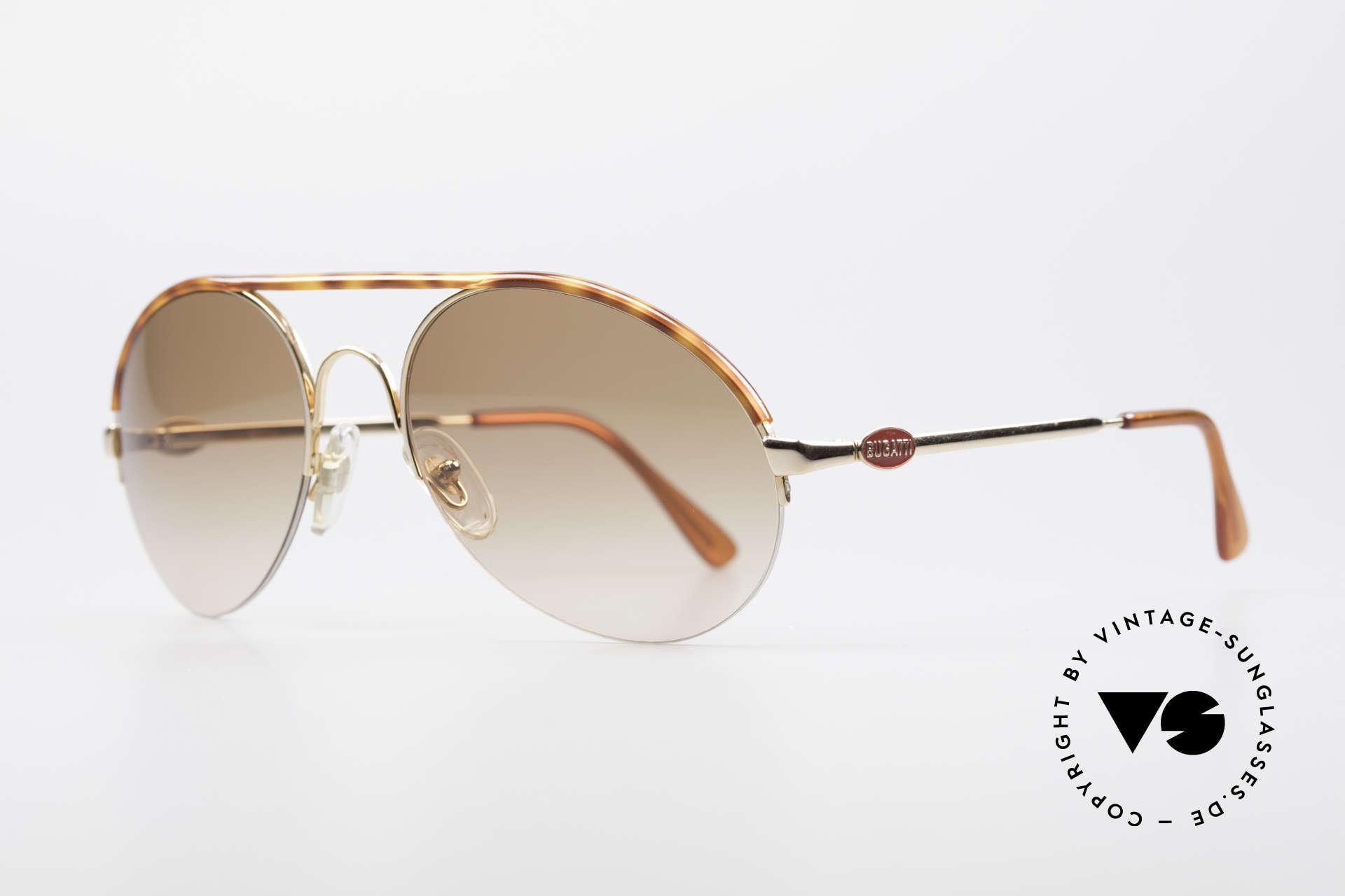 Bugatti 64919 Halb Rahmenlose Sonnenbrille, vergoldet, Schildpatt-Applikation & Bugatti Logos, Passend für Herren