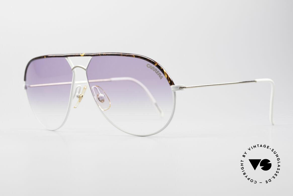 Carrera 5428 Rare Vintage Sonnenbrille, weiss/gold & feiner Oberbalken in Schildpatt-Optik, Passend für Herren und Damen