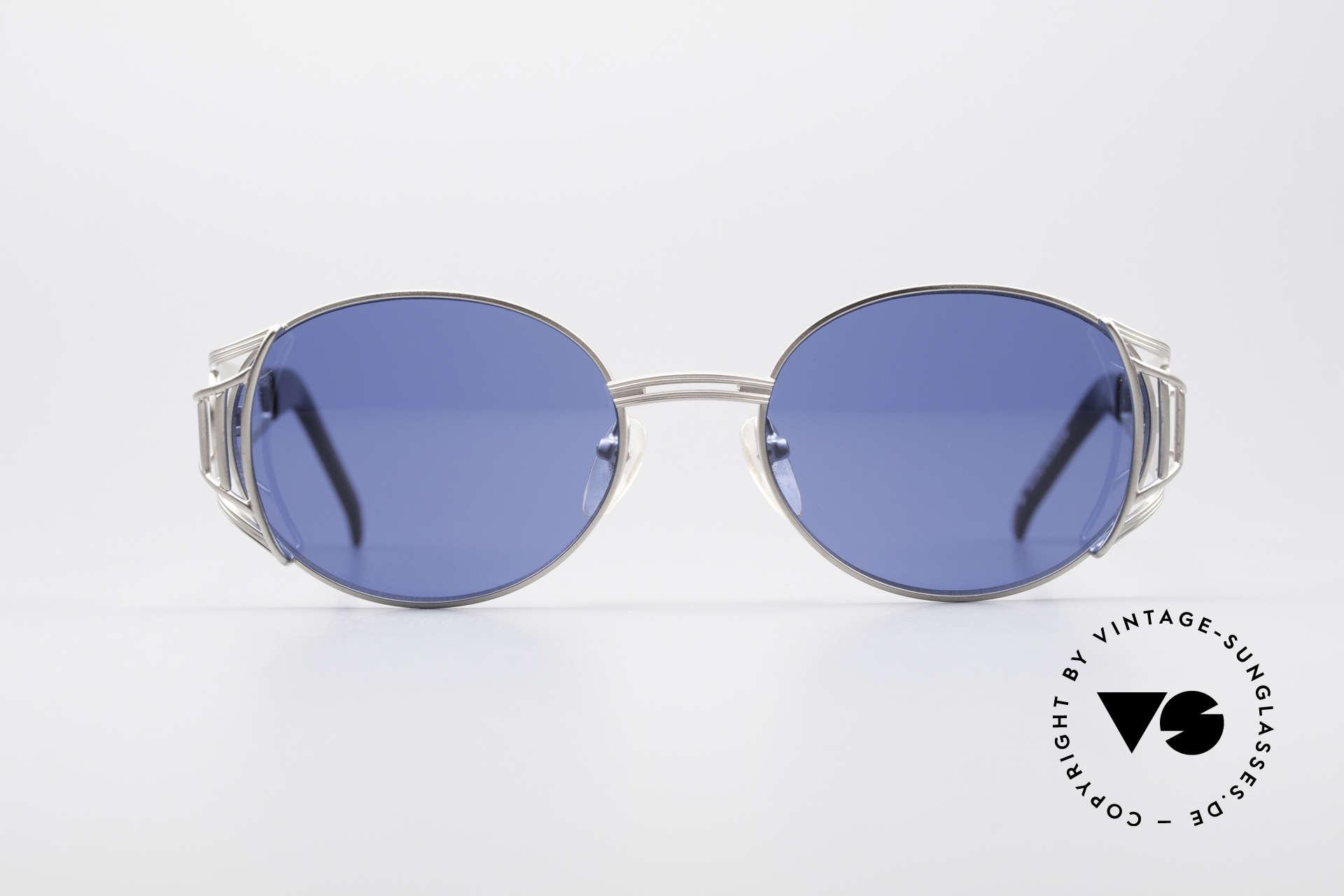 Jean Paul Gaultier 58-6102 Steampunk Sonnenbrille, Designer-Sonnenbrille von 1997 in Titanium-Grau, Passend für Herren und Damen