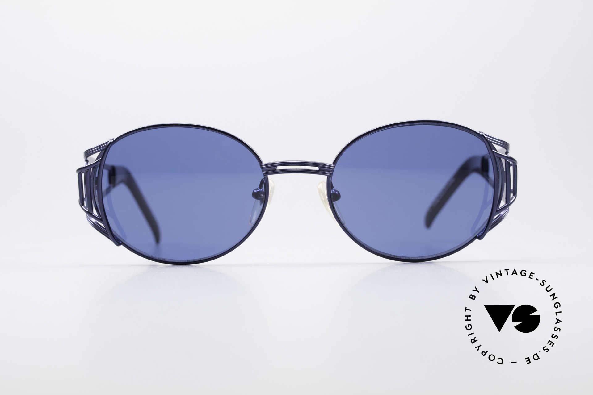 """Jean Paul Gaultier 58-6102 Vintage Steampunk Brille, 90er Designer-Sonnenbrille in """"navy-blue metallic"""", Passend für Herren und Damen"""