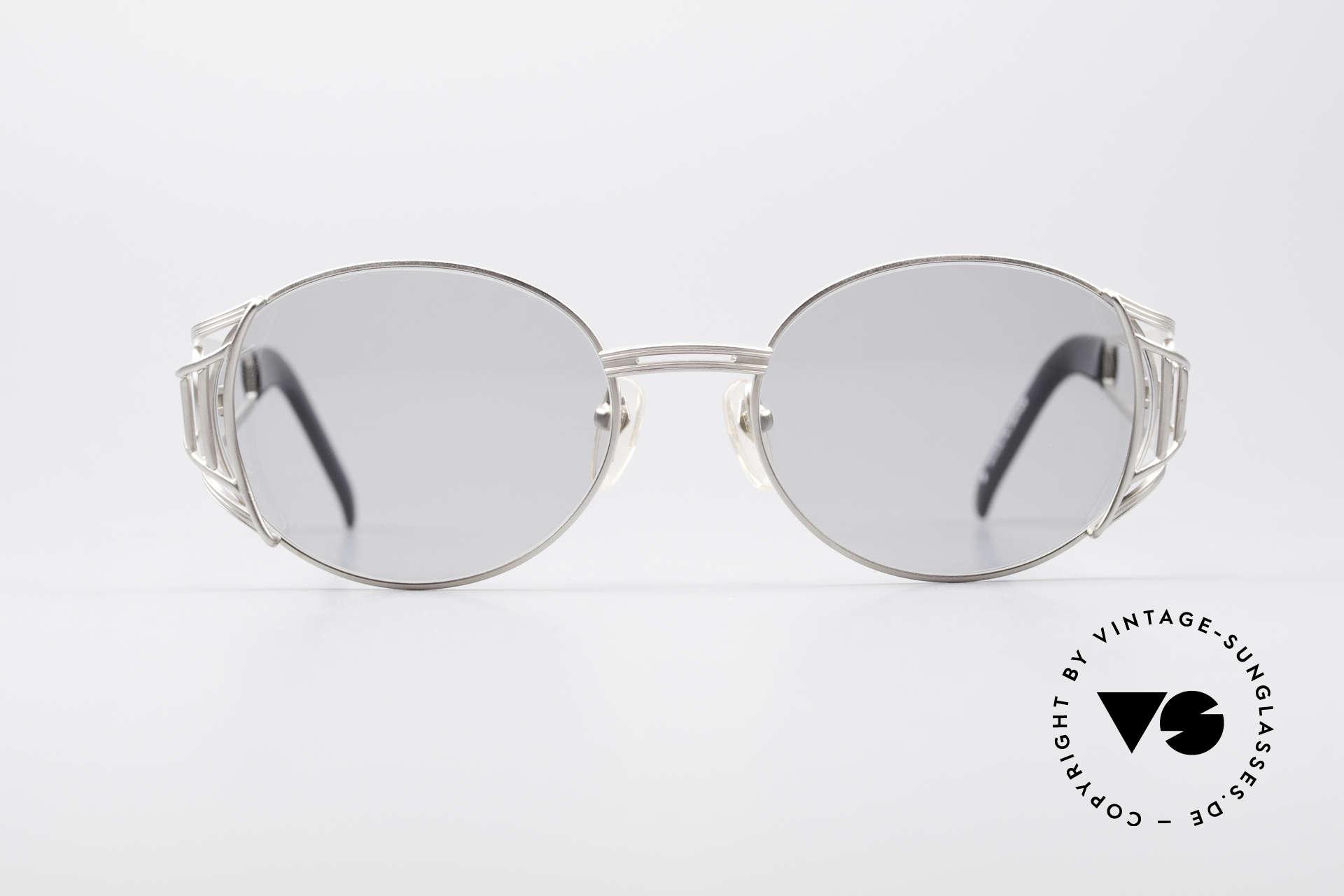 Jean Paul Gaultier 58-6102 Steampunk Vintage Brille, Designer-Sonnenbrille von 1997 in Titanium-Grau, Passend für Herren und Damen