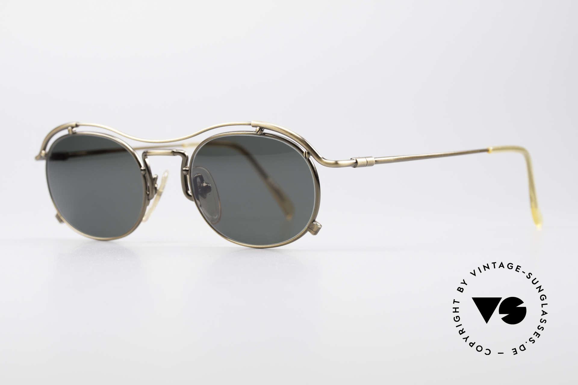 Jean Paul Gaultier 55-2170 No Retro 90er Sonnenbrille, edler Bronze-Schimmer & dunkelgrüne Sonnengläser, Passend für Herren und Damen