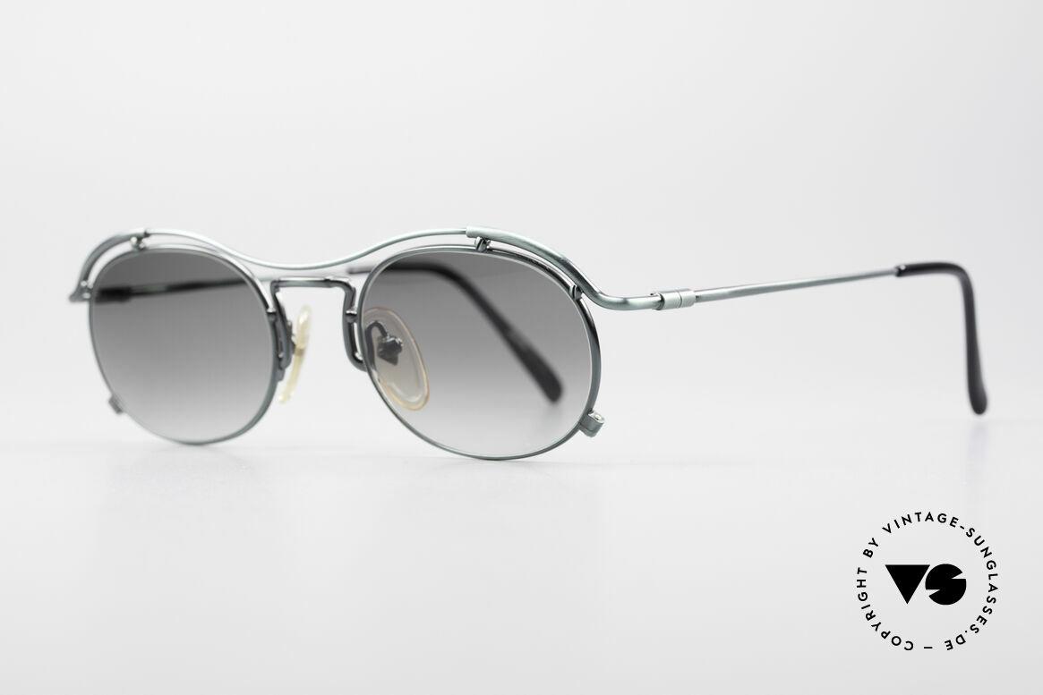 """Jean Paul Gaultier 55-2170 Vintage 90er Sonnenbrille, """"smoke green"""" Lackierung und grüne Verlaufsgläser, Passend für Herren und Damen"""