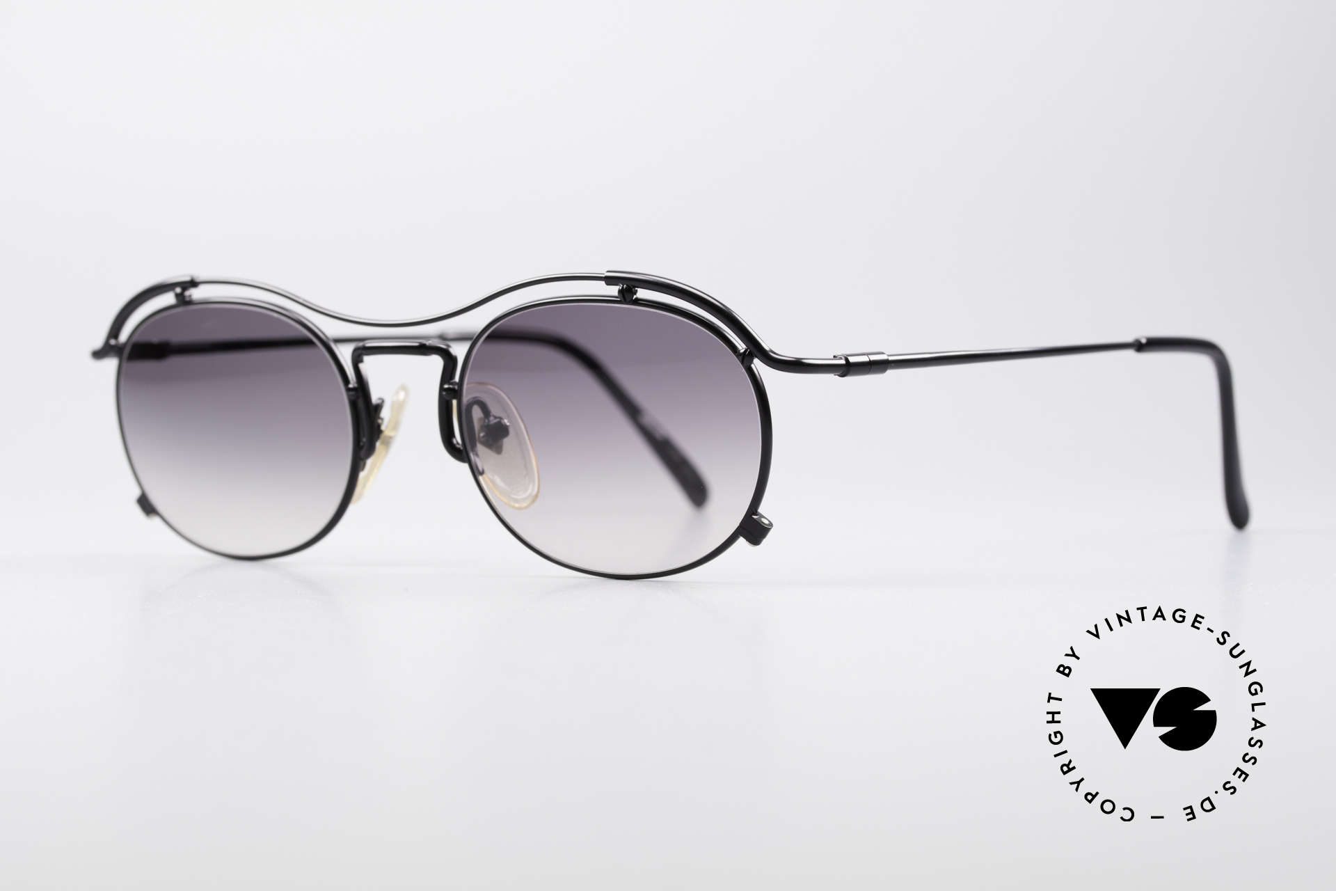 Jean Paul Gaultier 55-2170 Vintage JPG Sonnenbrille, schwarze Lackierung u. grau-Verlauf Sonnengläser, Passend für Herren und Damen