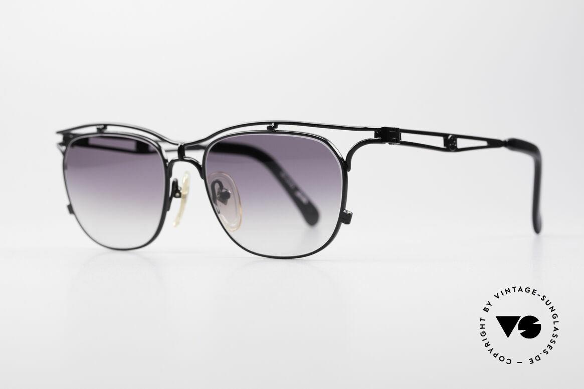 Jean Paul Gaultier 55-2178 No Retro JPG Designerbrille, schwarz-metallic & Sonnengläser in grau-Verlauf, Passend für Herren und Damen