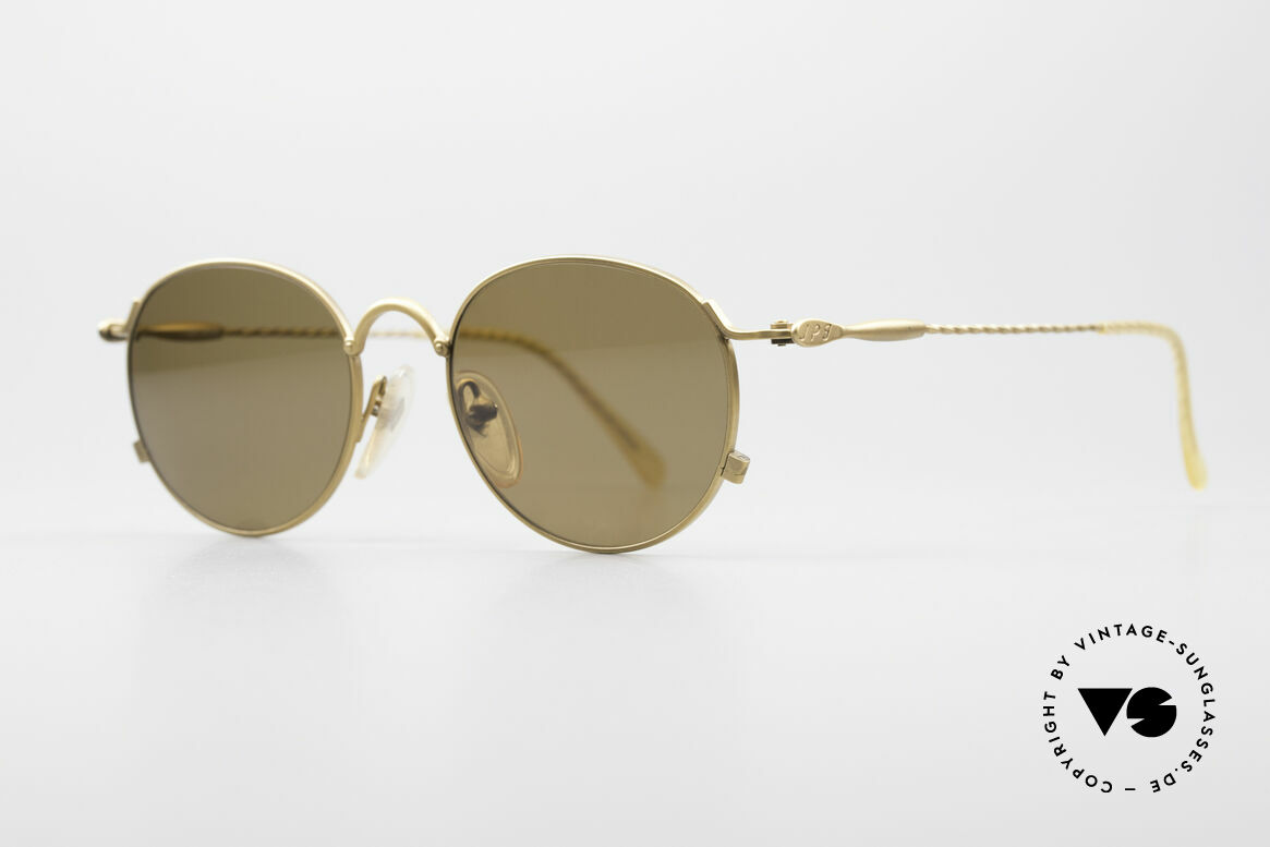 Jean Paul Gaultier 55-2172 Runde Vintage Sonnenbrille, mattgoldenes 90er Jahre Unikat in TOP-Qualität, Passend für Herren und Damen