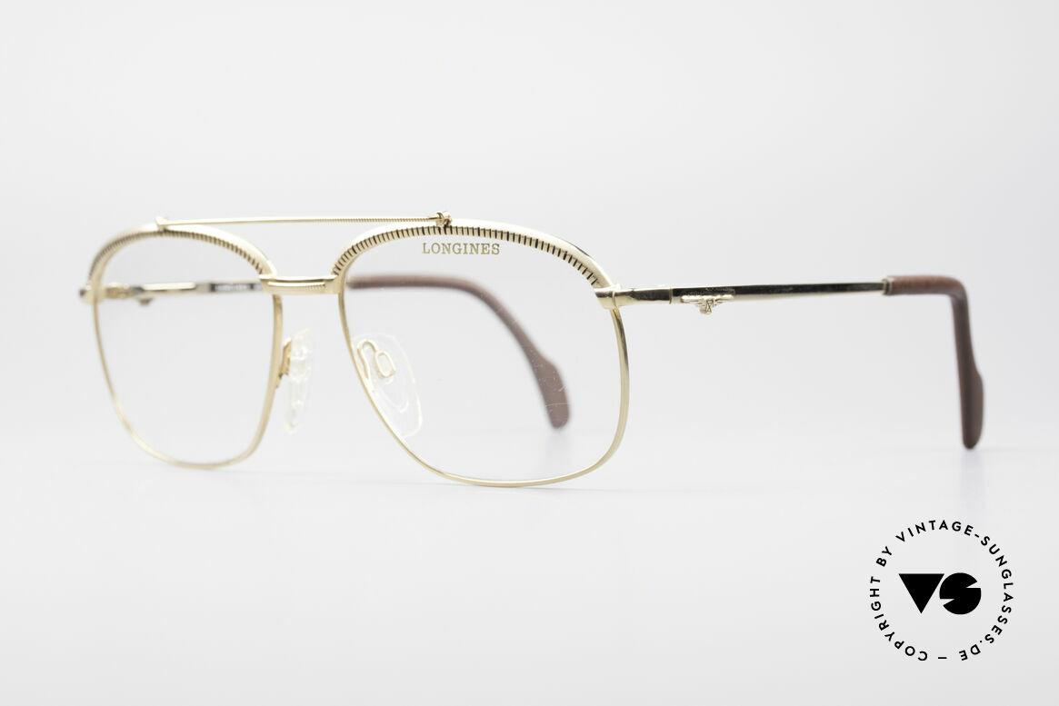 Longines 0172 80er Luxus Brillenfassung, Federscharniere & mit Leder überzogene Bügelenden, Passend für Herren