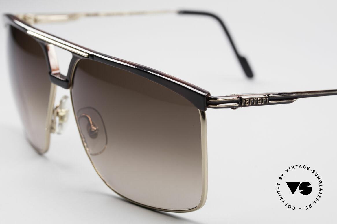Ferrari F35 Alutanium 80er Sonnenbrille, Sonnengläser in braun-Verlauf; 100% UV Protection, Passend für Herren