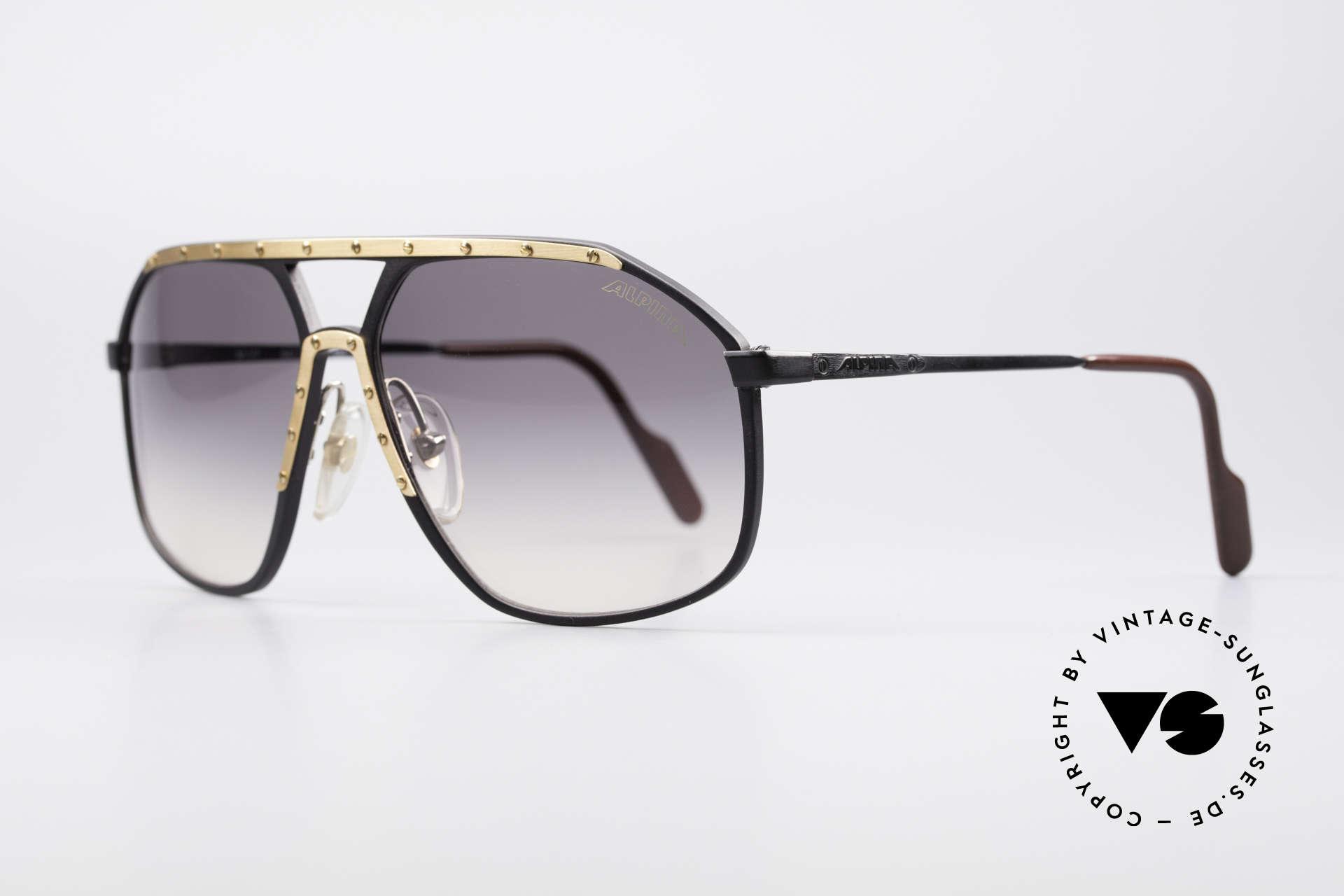 Alpina M1/7 Echte Vintage Sonnenbrille, weltberühmt für sein Schrauben-Design; XL Gr. 64-15, Passend für Herren