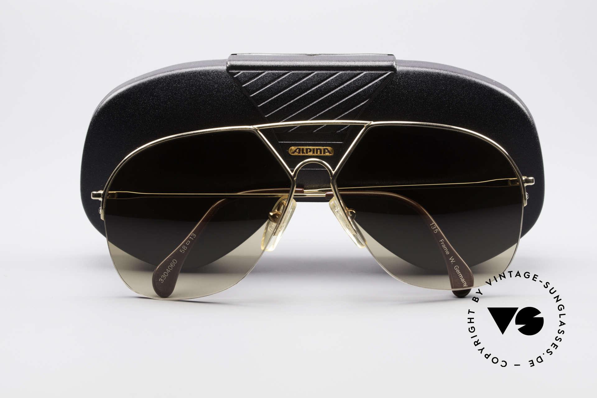 Alpina TR7 Halb Randlose Aviatorbrille, KEINE Retrosonnenbrille, ein 80er vintage Original, Passend für Herren
