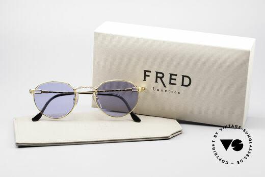 Fred Ouragan Luxus Panto Sonnenbrille, ungetragenes altes 90er ORIGINAL & keine Retrobrille, Passend für Herren
