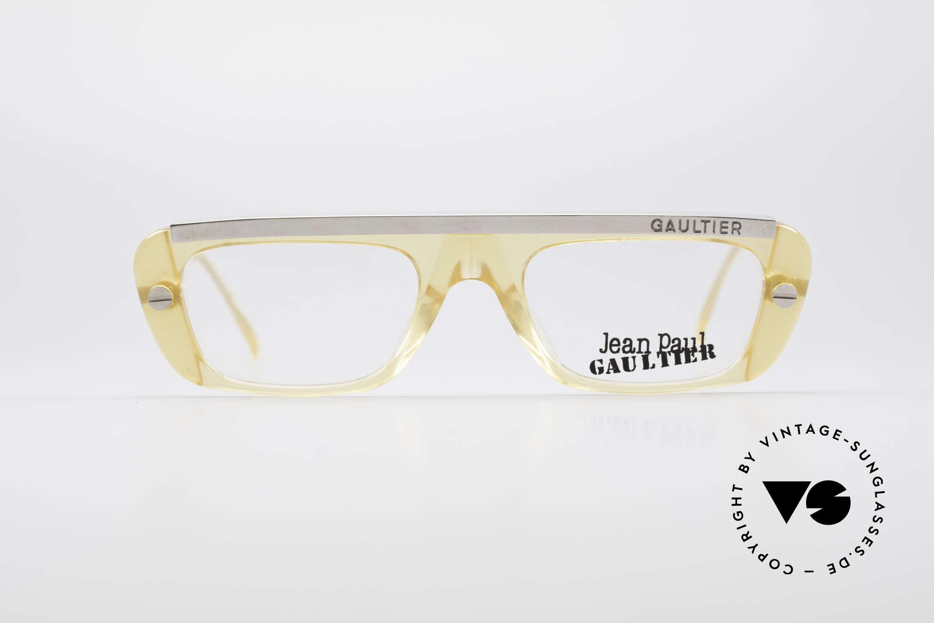 Jean Paul Gaultier 55-0771 Markante Vintage Brille, stabiles Gestell mit großartiger Materialkombination, Passend für Herren und Damen