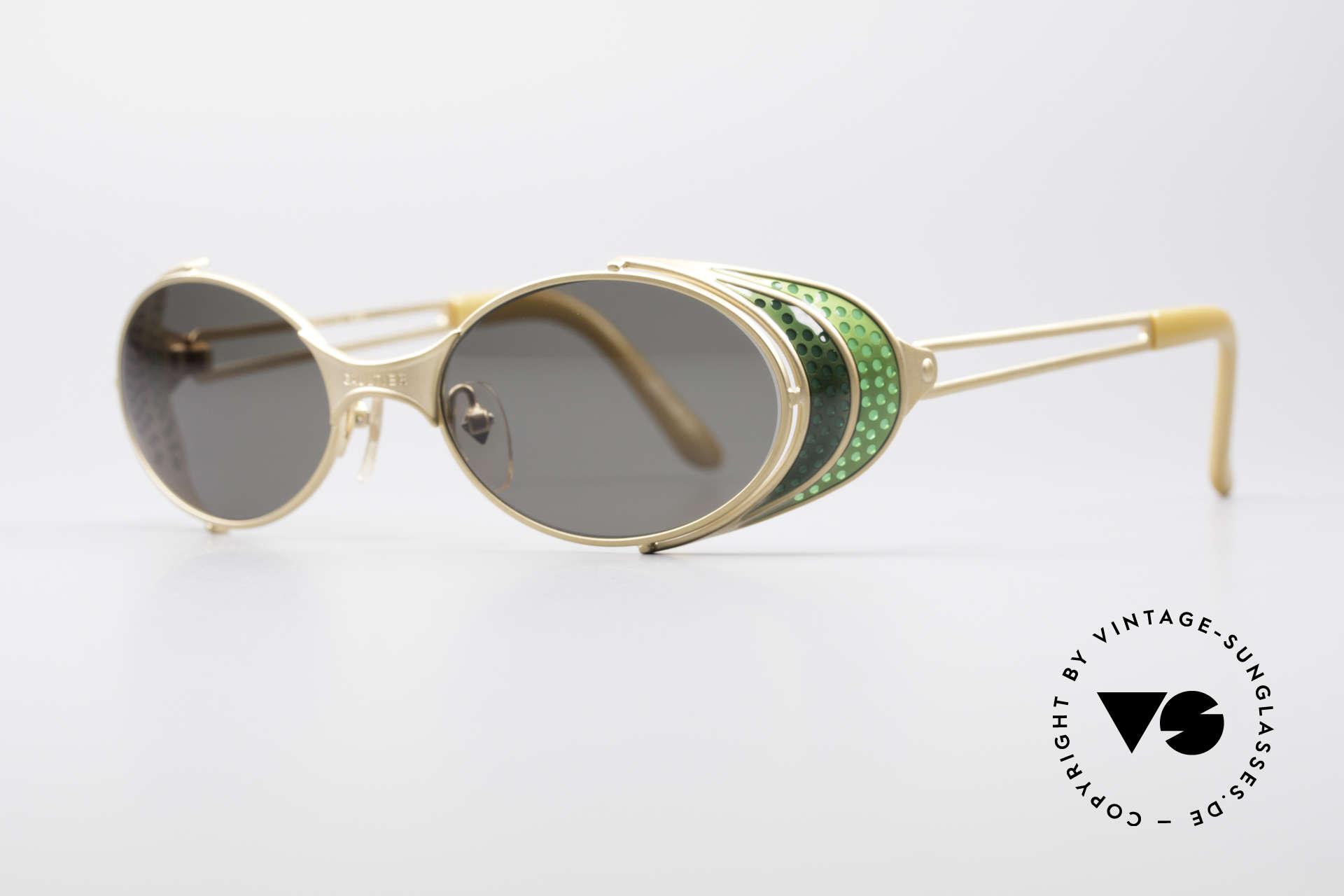 Jean Paul Gaultier 56-7109 Steampunk Sonnenbrille, viele interessante Rahmendetails im 'Retro-Futurismus', Passend für Herren und Damen