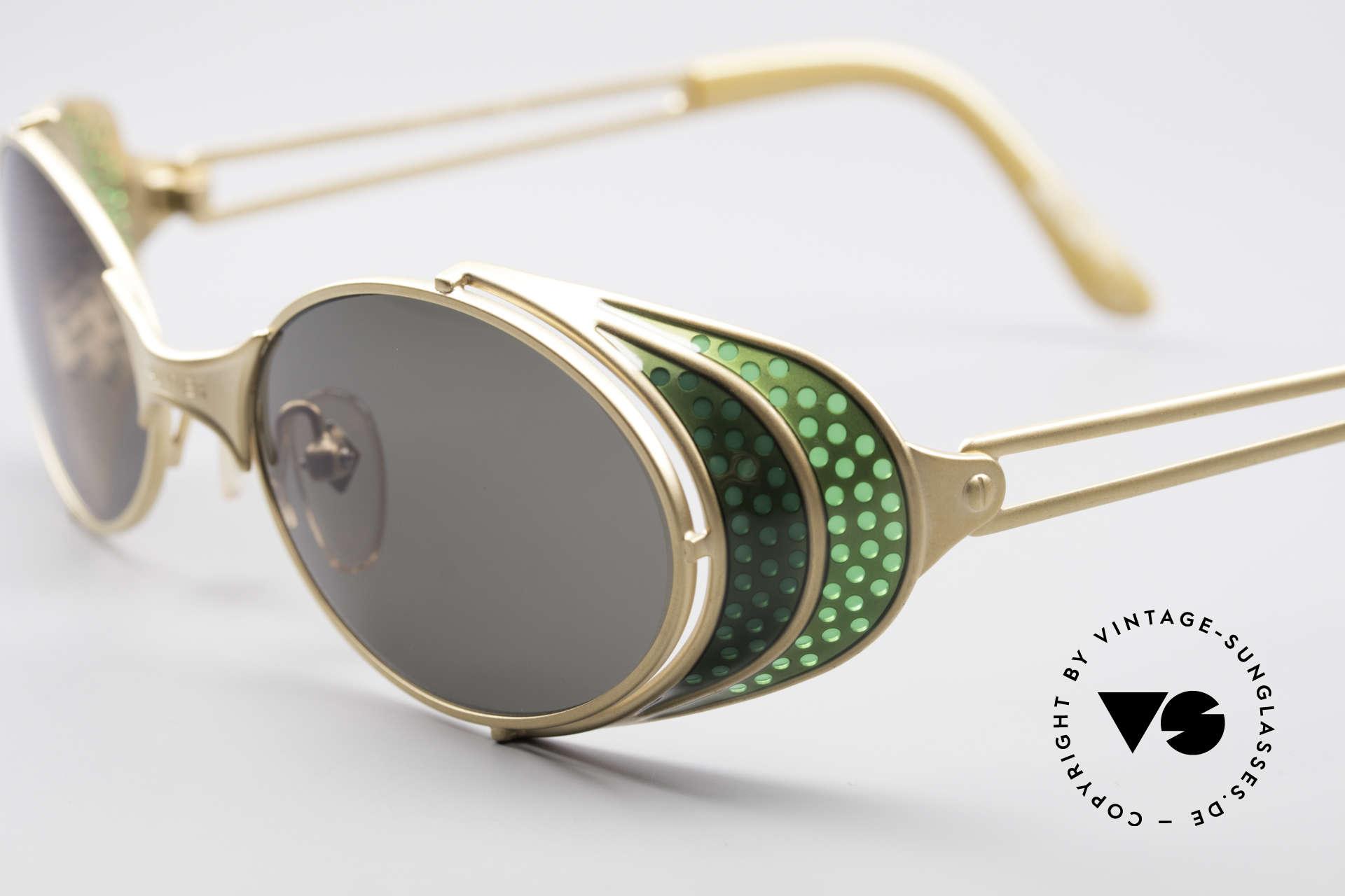 Jean Paul Gaultier 56-7109 Steampunk Sonnenbrille, also einer Sicht auf die Zukunft, aus einer früheren Zeit, Passend für Herren und Damen