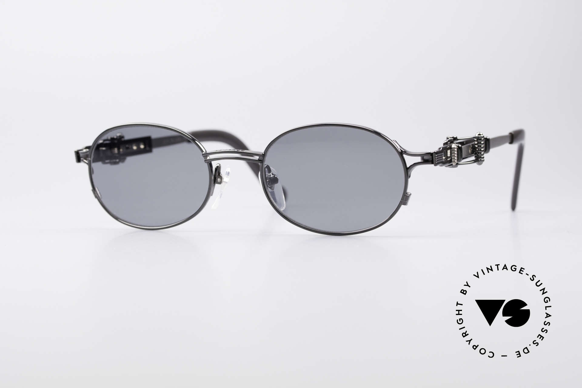 Jean Paul Gaultier 56-0020 Ovale Gürtelschnalle Brille, vintage Jean Paul GAULTIER Sonnenbrille von 1996/97, Passend für Herren