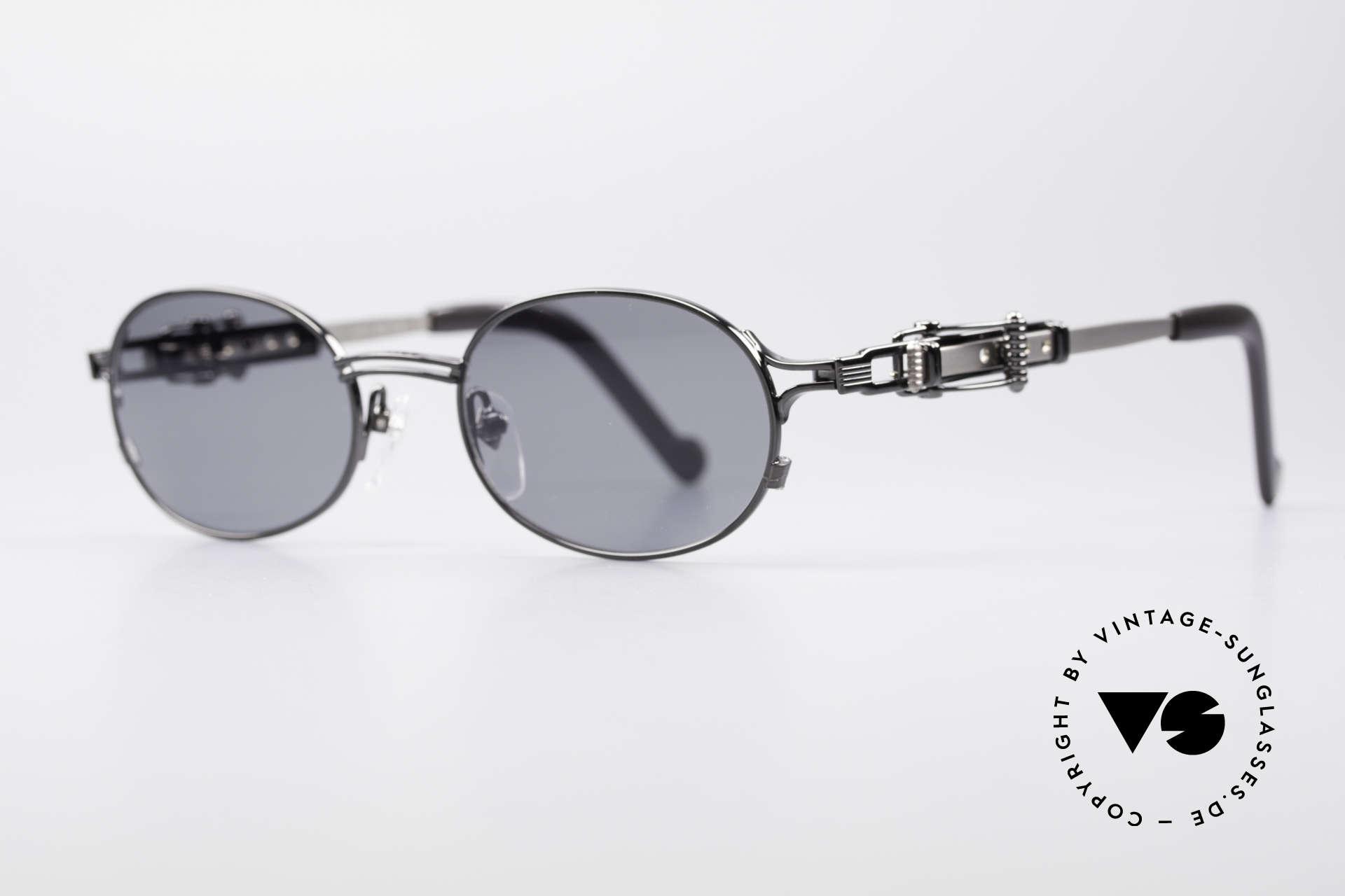 Jean Paul Gaultier 56-0020 Ovale Gürtelschnalle Brille, typisch Gaultier: Alltagsgegenstände als Design-Details, Passend für Herren