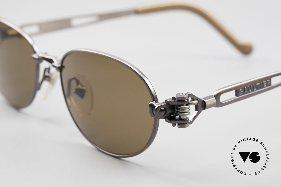 Jean Paul Gaultier 56-8102 Steampunk Vintage Brille, bräunlich-metallic & Bügelenden mit Symbol einer Uhr, Passend für Herren und Damen