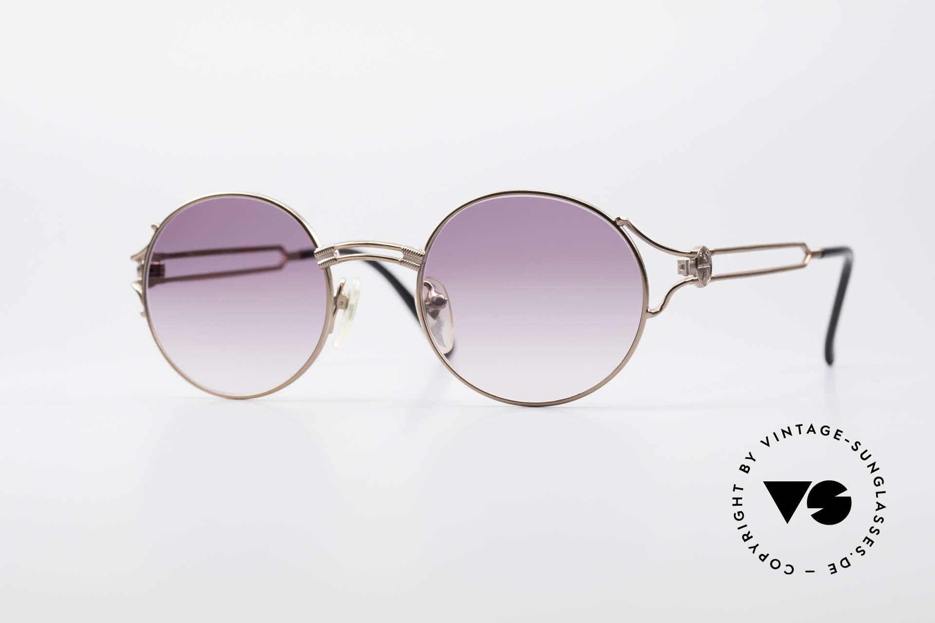 Jean Paul Gaultier 57-6102 Runde Designersonnenbrille, runde vintage Designer-Sonnenbrille von JP Gaultier, Passend für Herren und Damen
