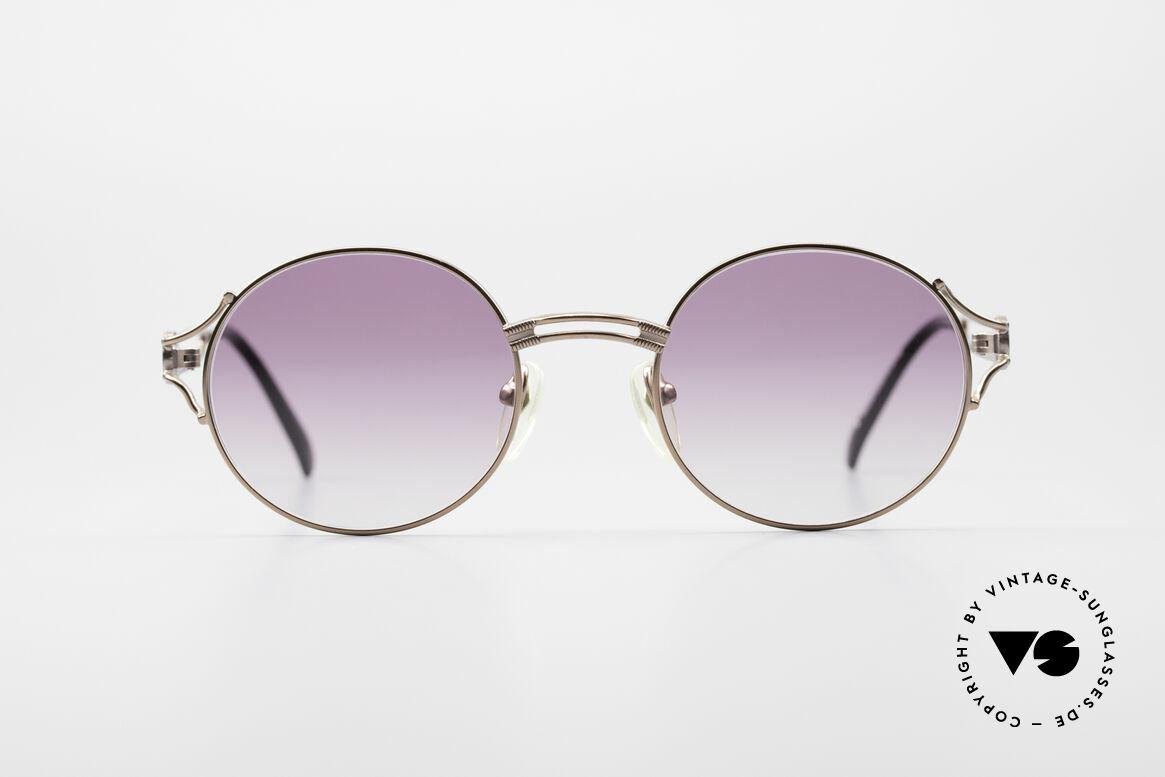 Jean Paul Gaultier 57-6102 Runde Designersonnenbrille, bronze Metall-Fassung mit Gläsern in Violett-Verlauf, Passend für Herren und Damen