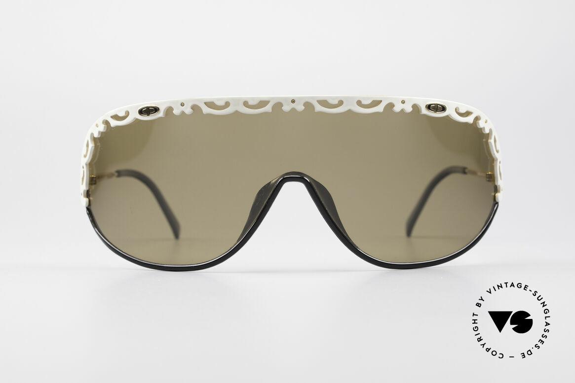 Christian Dior 2501 80er Designer Sonnenbrille, eine durchgehende Scheibe mit weißen Applikationen, Passend für Damen