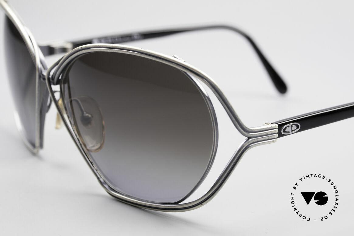 Christian Dior 2499 Damen Sonnenbrille 80er, 'antik silberne' Fassung mit grauen Verlaufsgläsern!, Passend für Damen