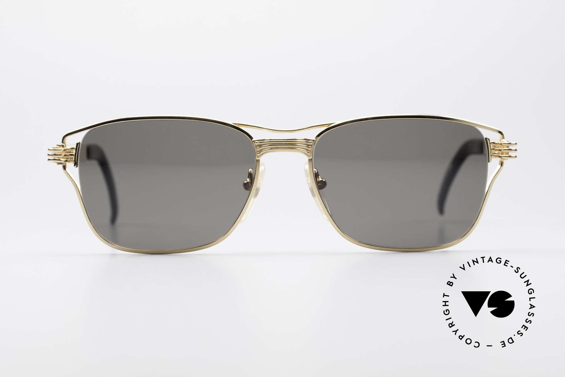 Jean Paul Gaultier 56-4173 Eckige Designer Sonnenbrille, typisches mechanisches J.P.G. Industrie-Design, Passend für Herren