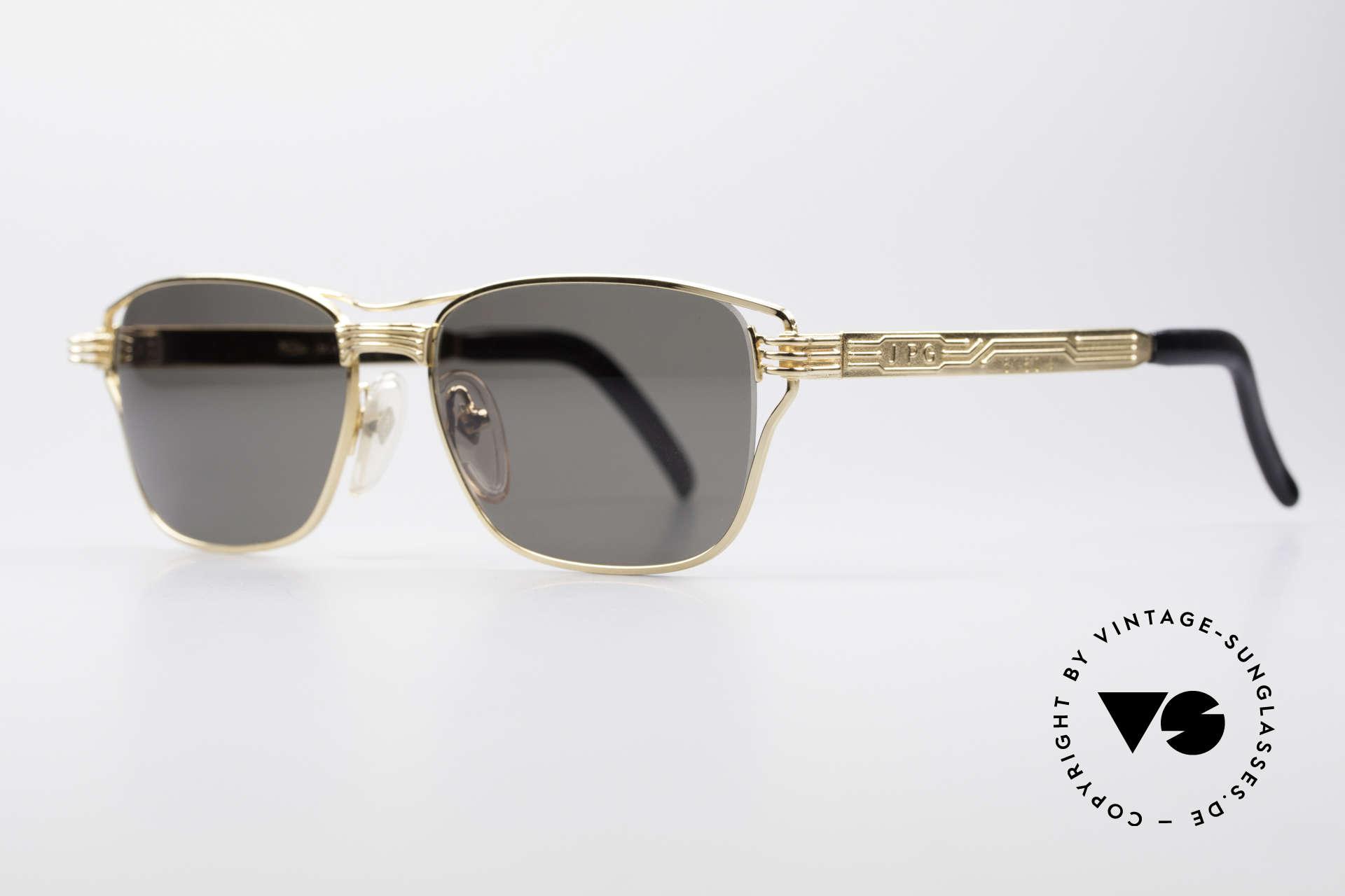 Jean Paul Gaultier 56-4173 Eckige Designer Sonnenbrille, Metall-Fassung mit vielen aufwendigen Details, Passend für Herren