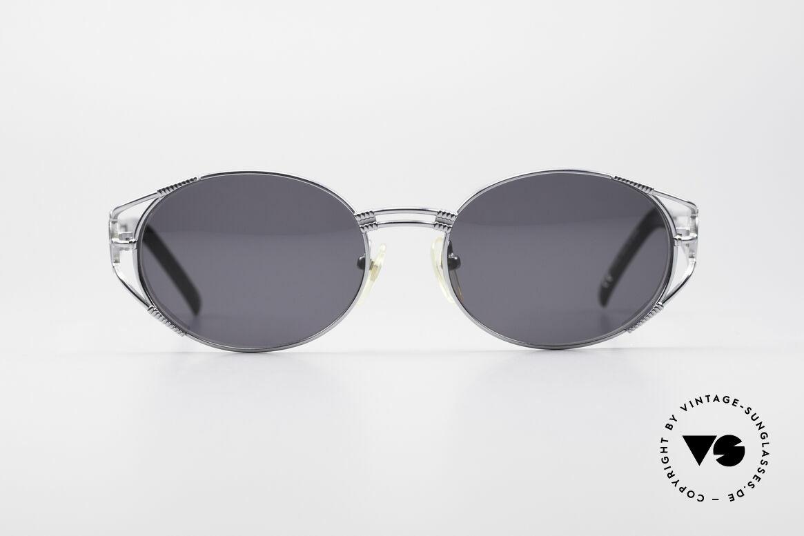 Jean Paul Gaultier 58-5106 Ovale Steampunk JPG Brille, silber-glänzende Designer-Sonnenbrille v. 1997/98, Passend für Herren und Damen