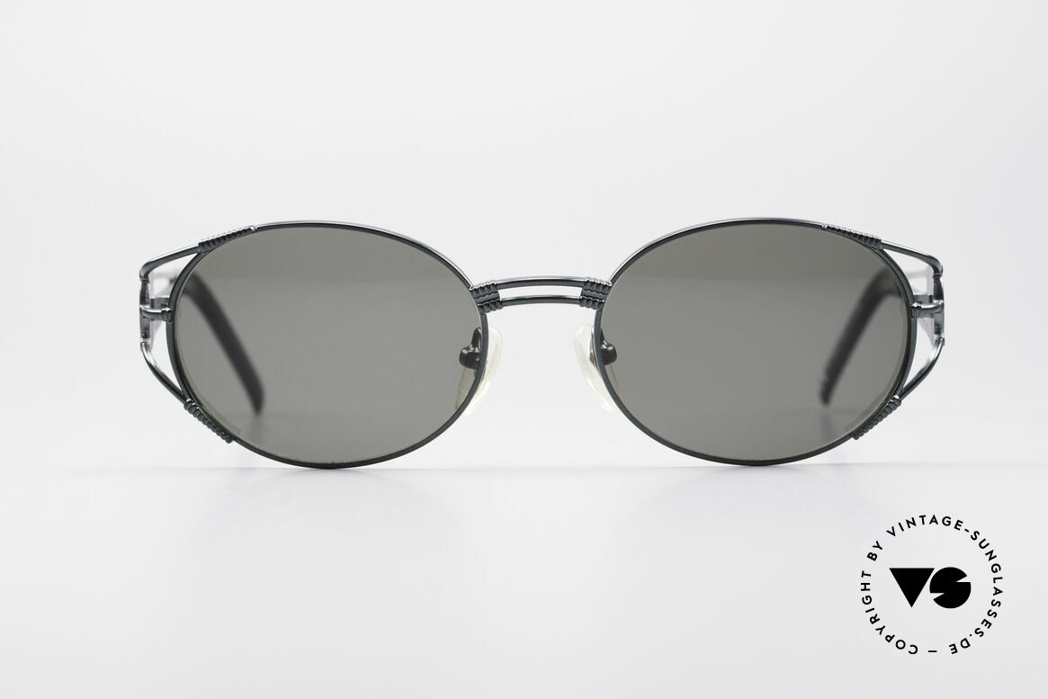 Jean Paul Gaultier 58-5106 Vintage Brille Steampunk, Designer-Brille von 1997 in tannengrün-metallic, Passend für Herren und Damen