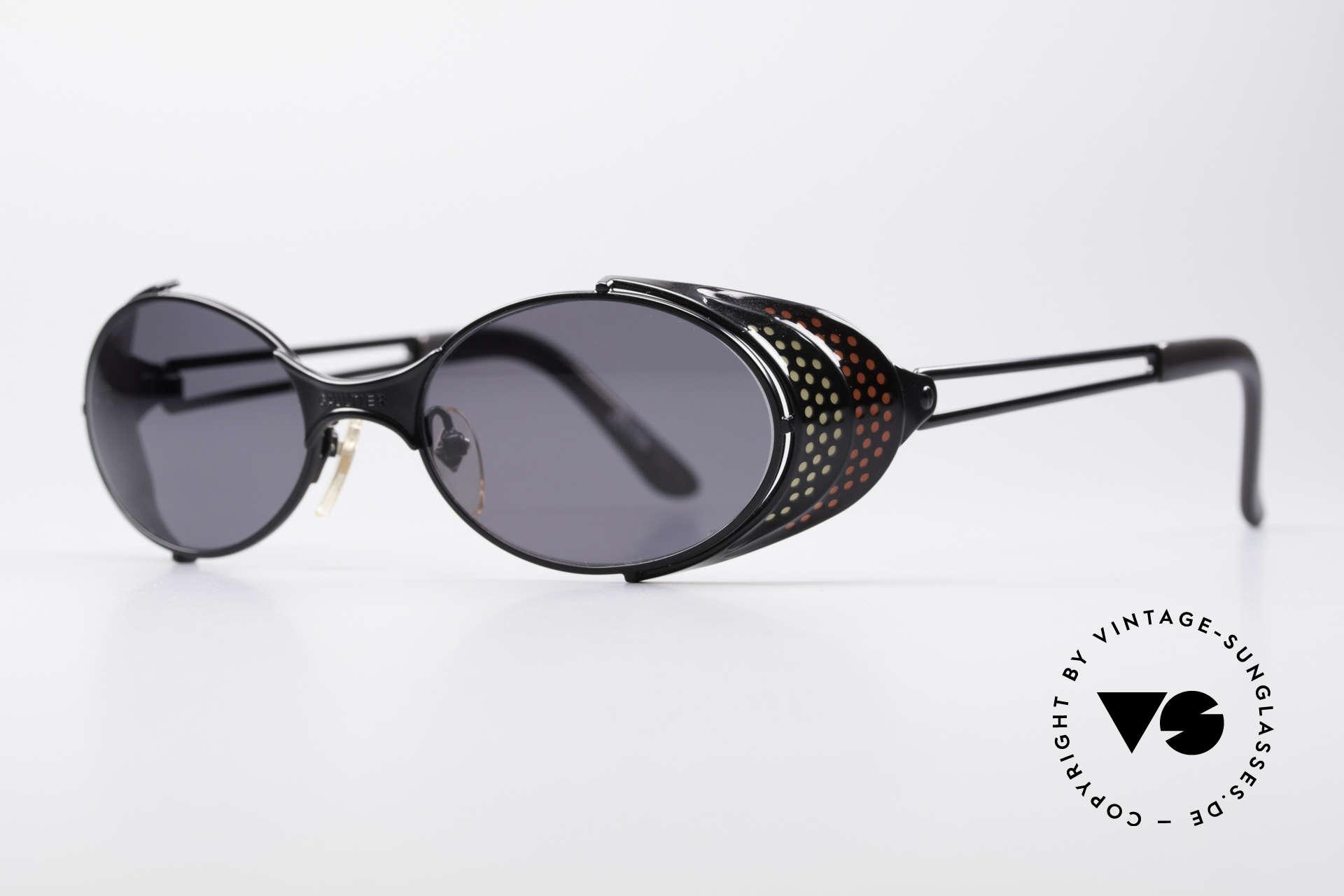Jean Paul Gaultier 56-7109 JPG Steampunk Sonnenbrille, viele interessante Rahmendetails im 'Retro-Futurismus', Passend für Herren und Damen