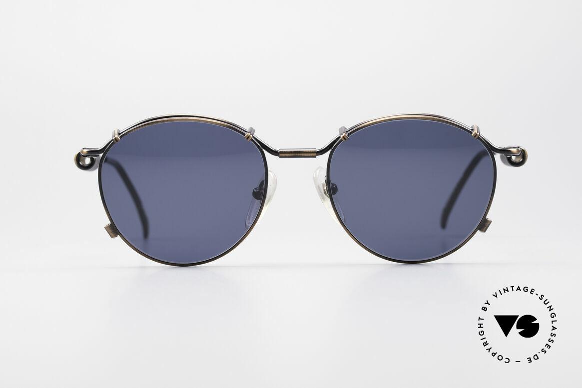 Jean Paul Gaultier 56-9174 90er Industrial Sonnenbrille, typisches mechanisches J.P.G. Industrial-Design, Passend für Herren und Damen