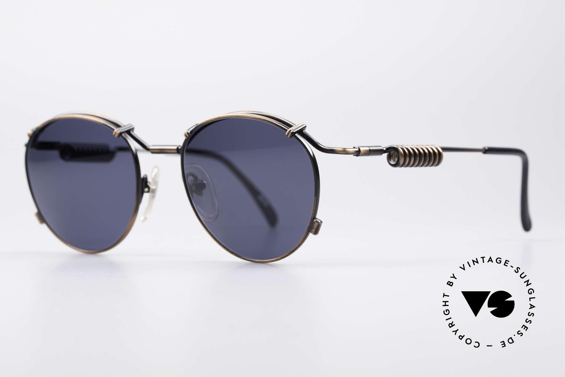 Jean Paul Gaultier 56-9174 90er Industrial Sonnenbrille, die Metallbügel sind geformt wie eine Stromspule, Passend für Herren und Damen