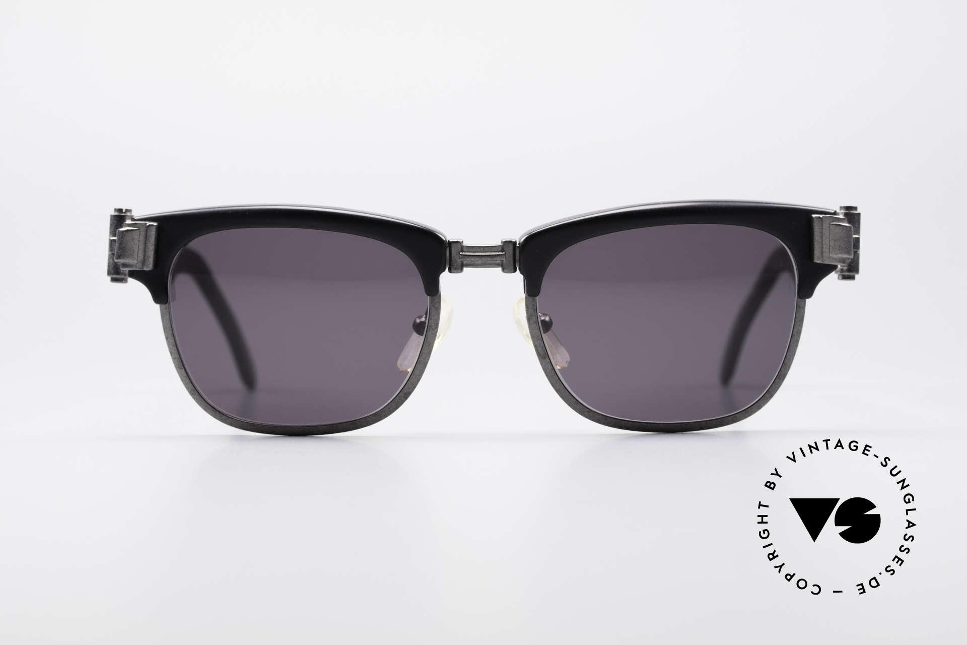 Jean Paul Gaultier 56-5202 90er Designer Sonnenbrille, Bügelansätze in Form von massiven Türscharnieren, Passend für Herren und Damen