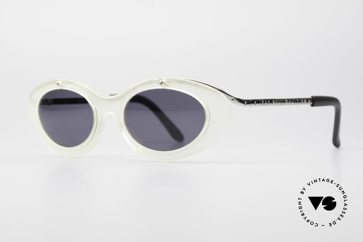 Jean Paul Gaultier 56-7201 Designer Damensonnenbrille, silberne Fassung mit transluzenter Front; UNIQUE!, Passend für Damen