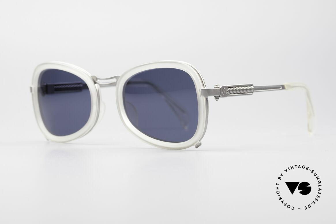 Jean Paul Gaultier 56-1271 90er Steampunk Sonnenbrille, solider Metallrahmen mit Gläsern in Kunststoff-Inlays, Passend für Herren und Damen