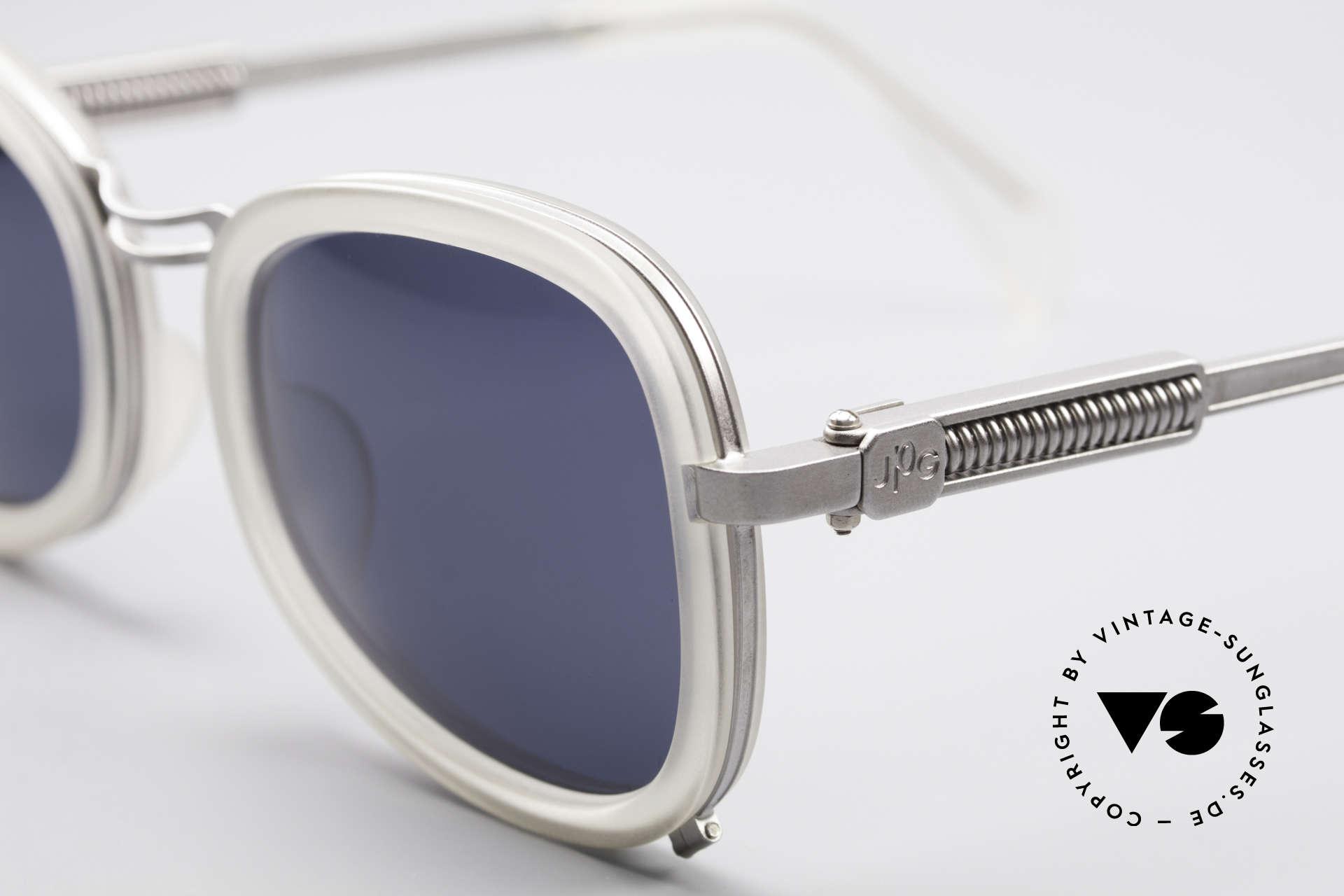 Jean Paul Gaultier 56-1271 90er Steampunk Sonnenbrille, flexible Federscharniere (für eine optimale Passform), Passend für Herren und Damen