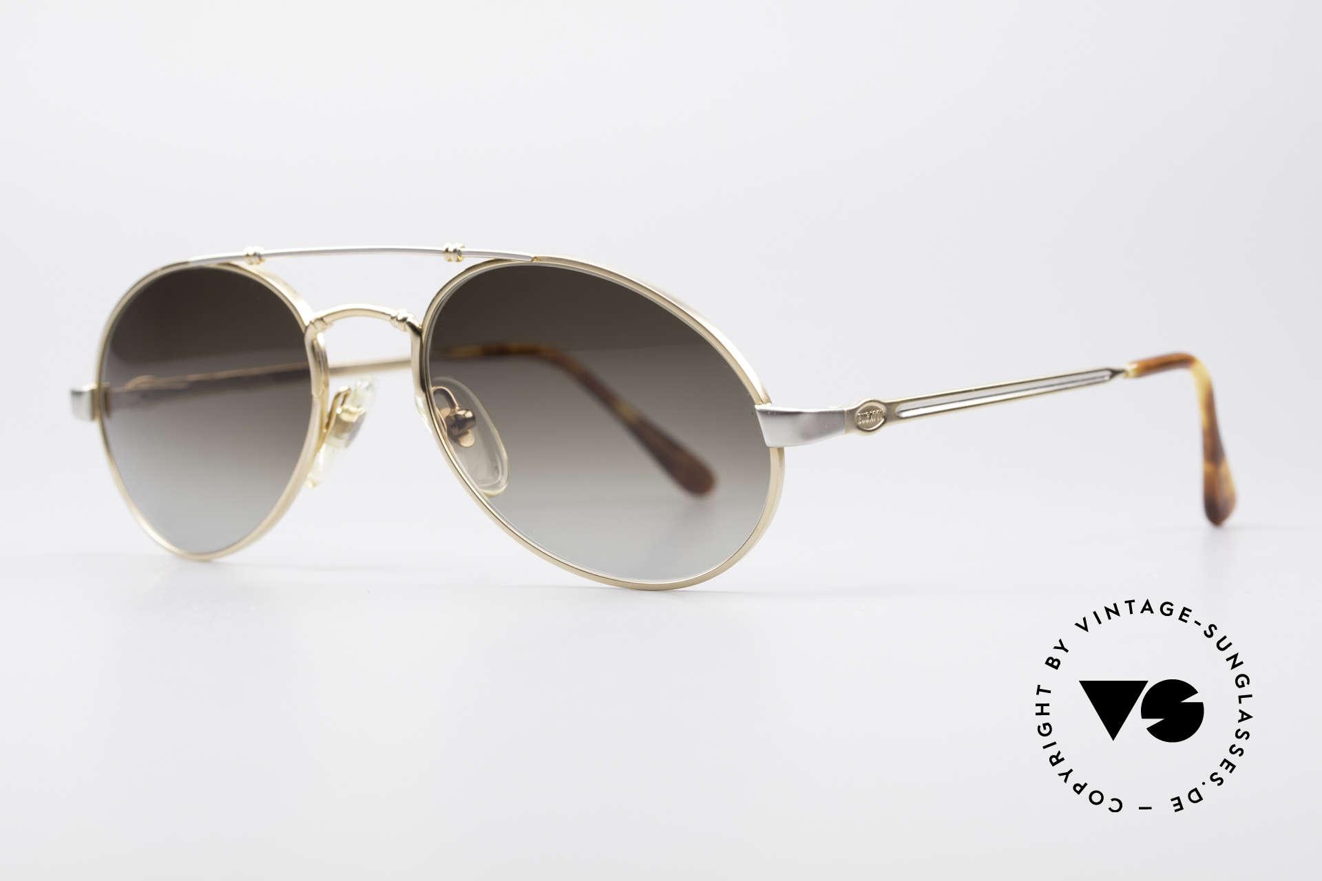 Bugatti 18503 90er Herren Sonnenbrille, edel glänzende Rahmen-Lackierung in gold und silber, Passend für Herren