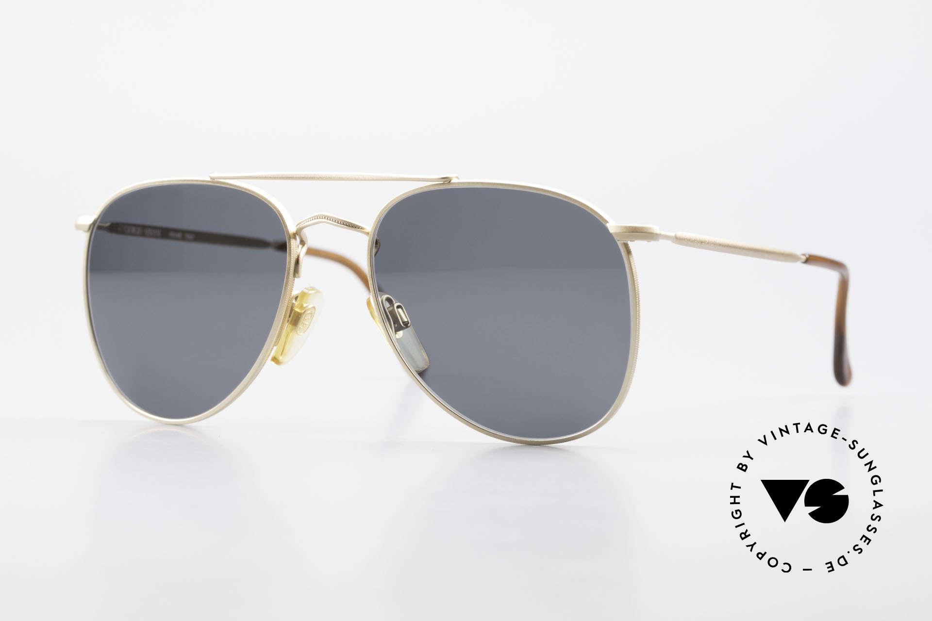 Giorgio Armani 149 Kleine Aviator Sonnenbrille, schlichter, mattgoldener Rahmen mit Doppelbrücke, Passend für Herren und Damen