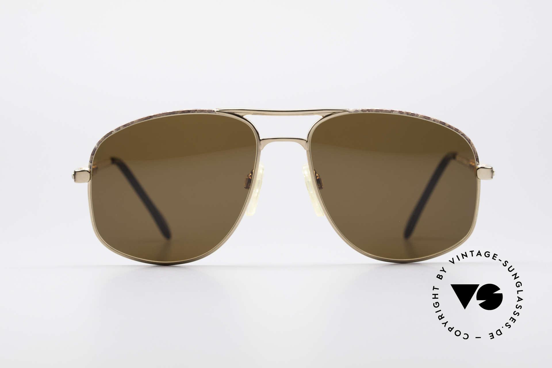 Zollitsch Cadre 8 18k Gold Plated Sonnenbrille, kostbares, 18k vergoldetes HerrenModell; West Germany, Passend für Herren