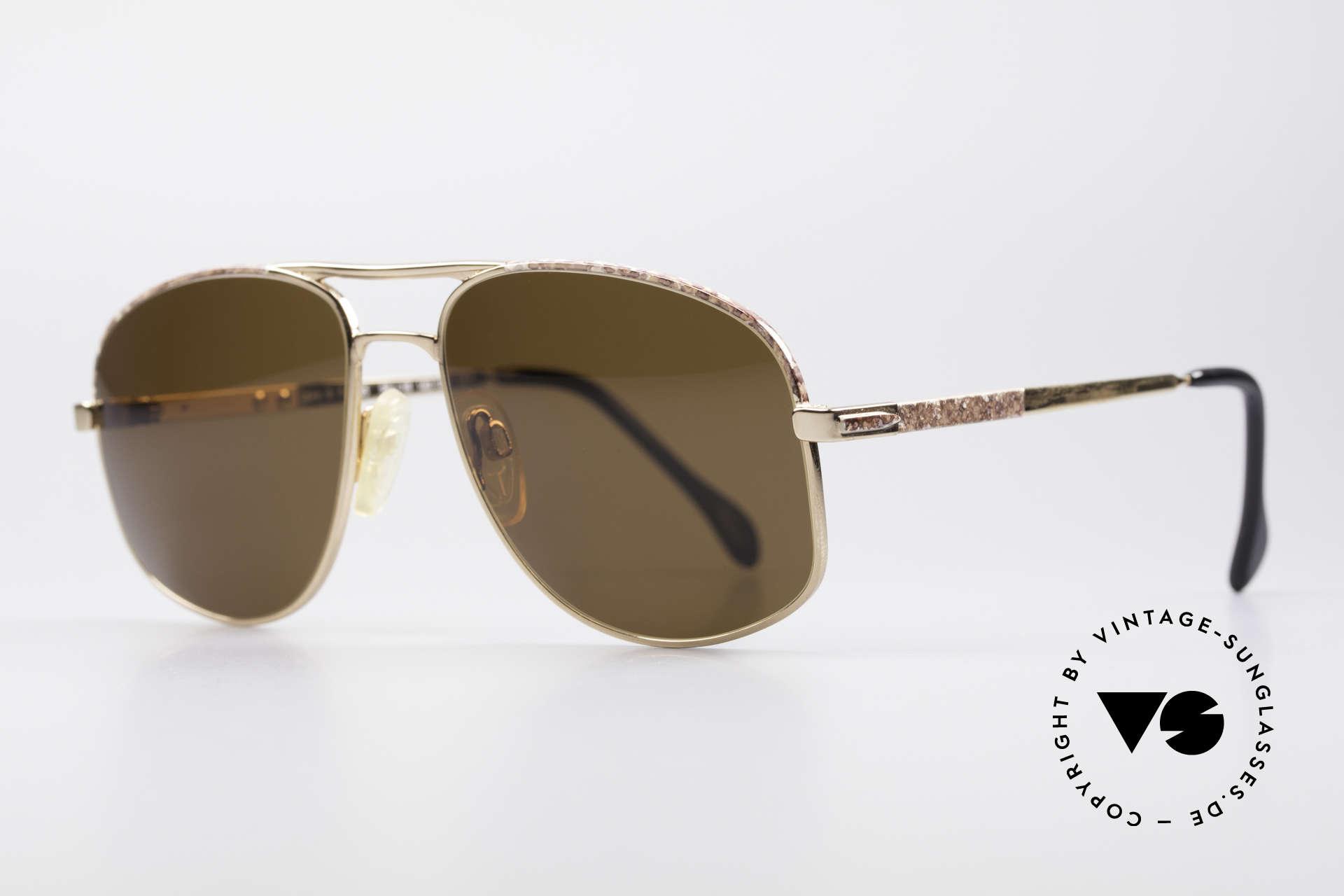 Zollitsch Cadre 8 18k Gold Plated Sonnenbrille, TOP-Qualität (Federscharniere und braun-marmoriert), Passend für Herren