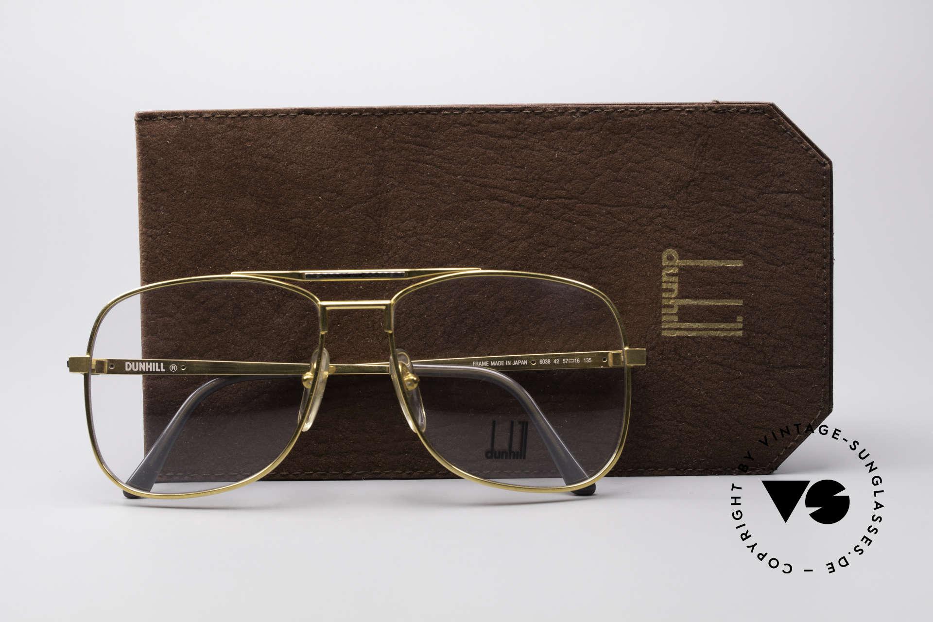 Dunhill 6038 Vergoldete 80er Titanium Brille, Größe: medium, Passend für Herren