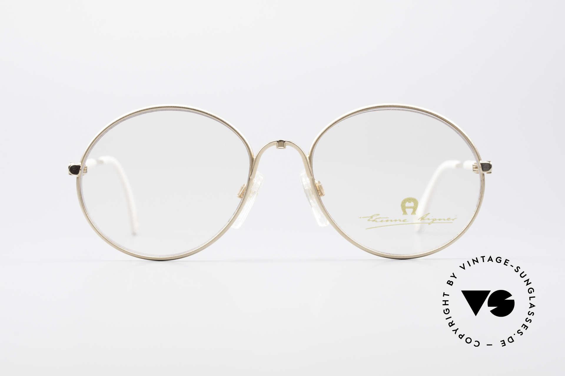 Aigner EA13 Kleine Runde 80er Brille, runde Fassung in KLEINER Gr. 53/18 (120mm breit), Passend für Damen