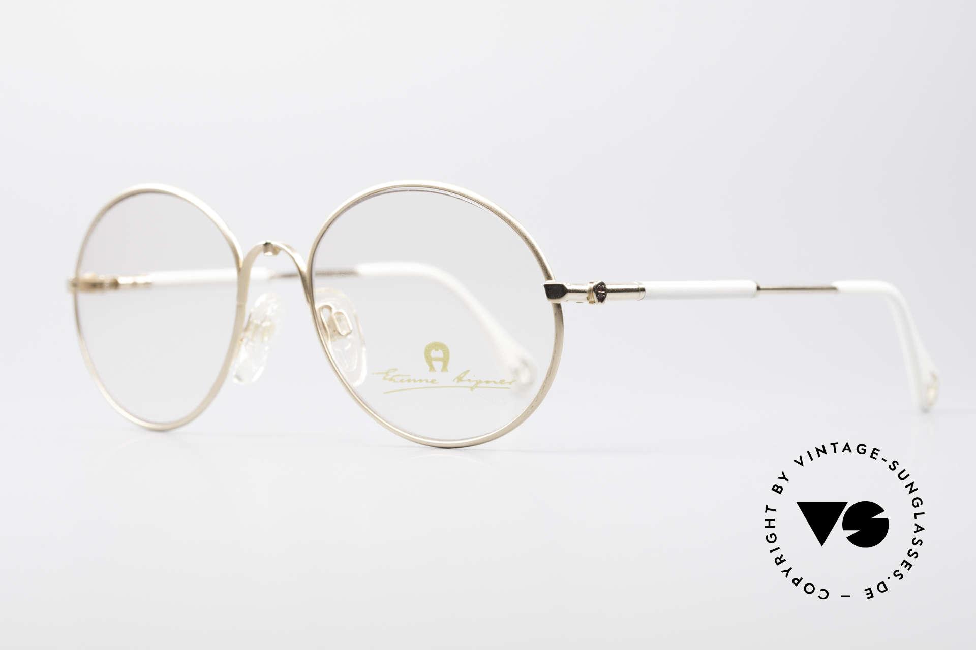 Aigner EA13 Kleine Runde 80er Brille, wahre Luxus-Brille mit Seriennr.; kostbar & selten, Passend für Damen