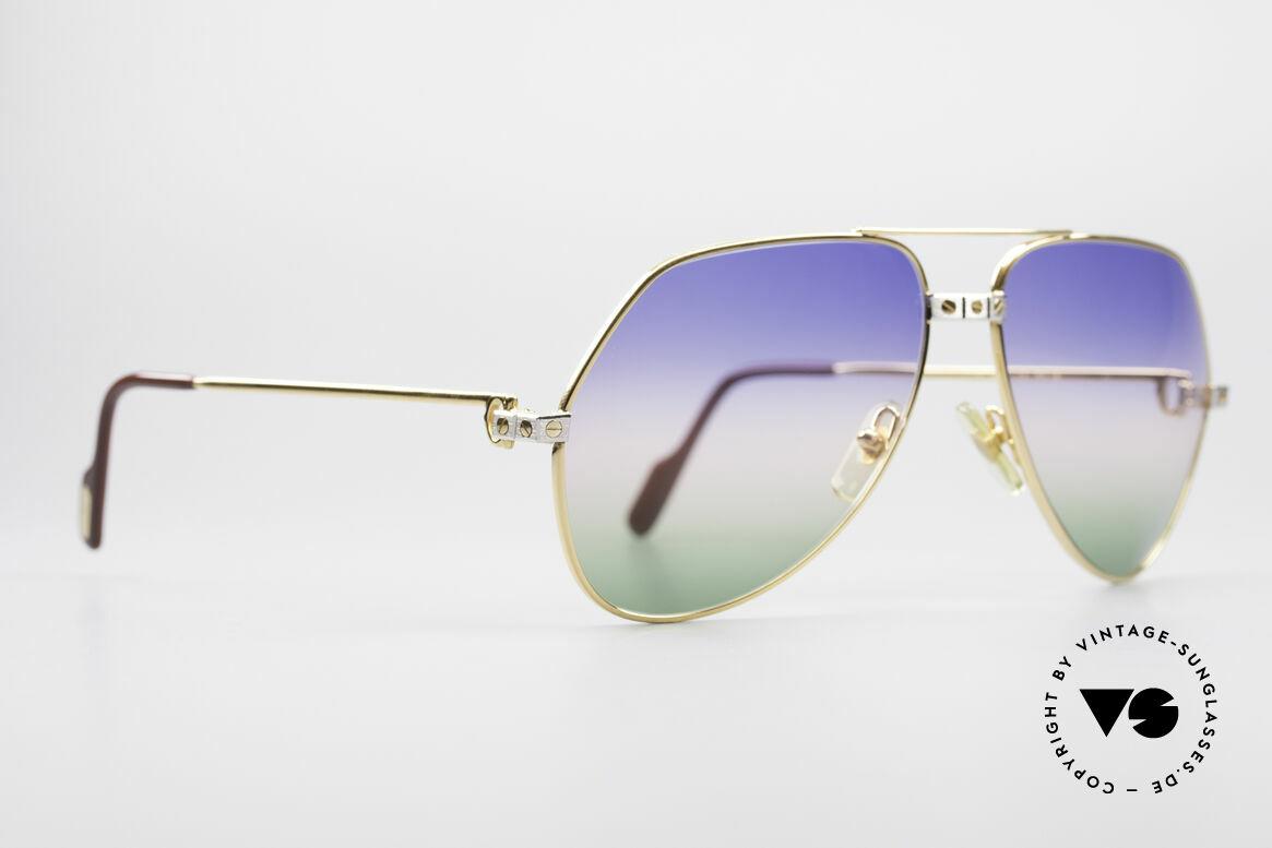 Cartier Vendome Santos - L Rare Luxus Sonnenbrille 80er, Santos-Dekor (3 Schrauben) in LARGE Größe 62-14, 140, Passend für Herren