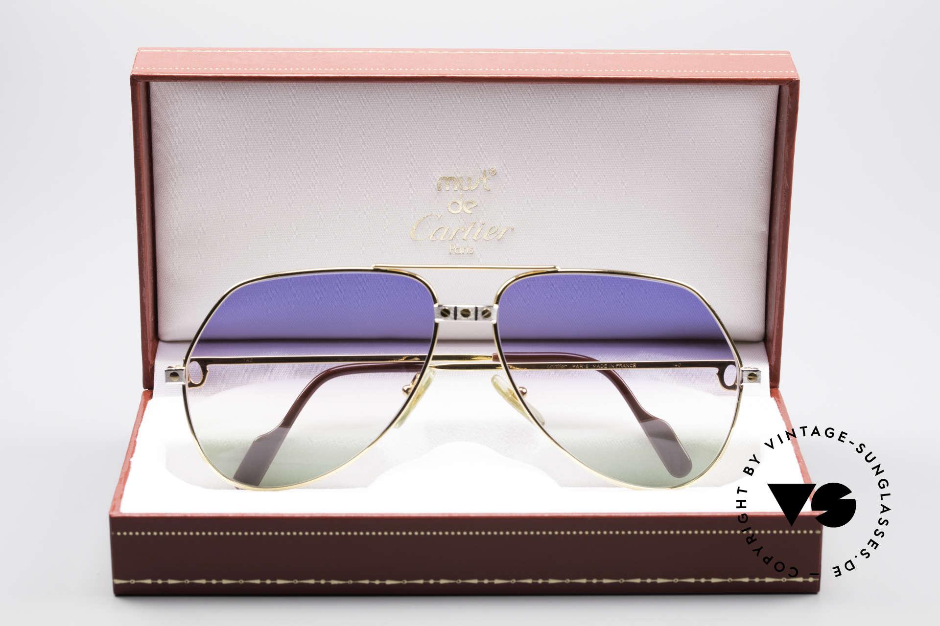 Cartier Vendome Santos - L Rare Luxus Sonnenbrille 80er, toller Horizont-Farbverlauf von himmelblau zu grasgrün, Passend für Herren