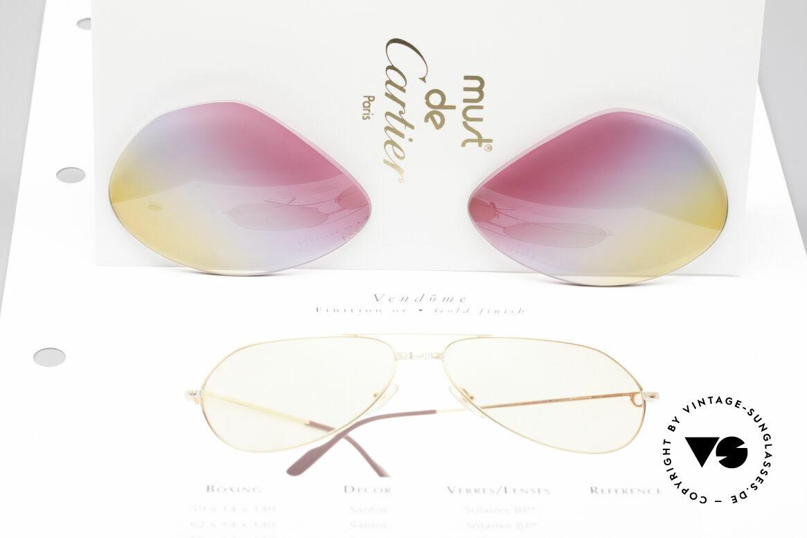Cartier Vendome Lenses - M Tricolored Sunrise Gläser, Dreifach-Farbverlauf der Gläser wie ein Sonnenaufgang, Passend für Herren und Damen