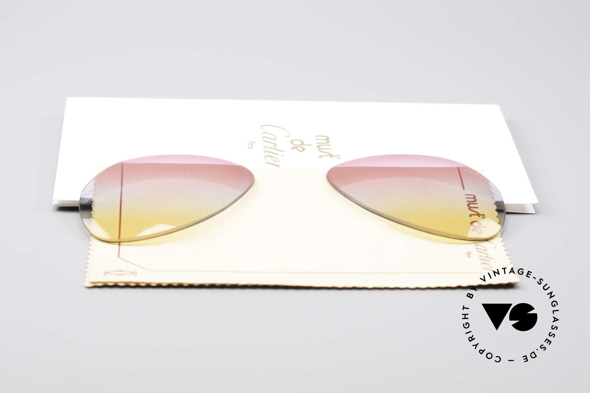 Cartier Vendome Lenses - M Tricolored Sunrise Gläser, von unserem Optiker gefertigt: daher neu & kratzerfrei, Passend für Herren und Damen