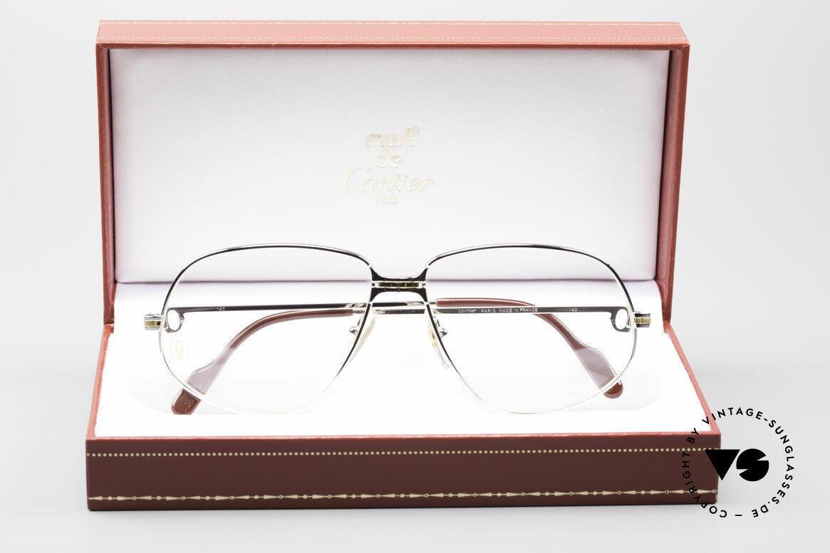 Cartier Panthere G.M. - L Seltene Platin Fassung, teure Luxus-Brillenfassung in LARGE Größe 59-14, 140, Passend für Herren