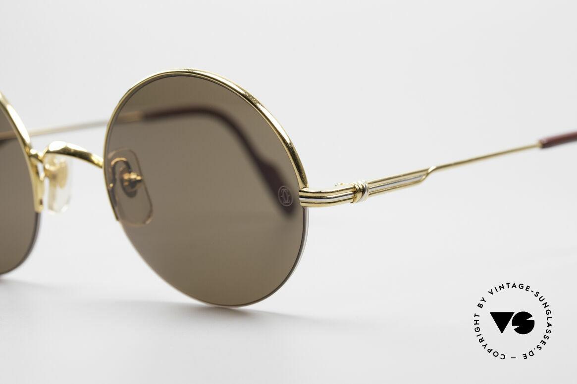Cartier Mayfair - M Runde Luxus Sonnenbrille, semi-rimless, flexibler 22kt vergoldeter Rahmen, Passend für Herren und Damen