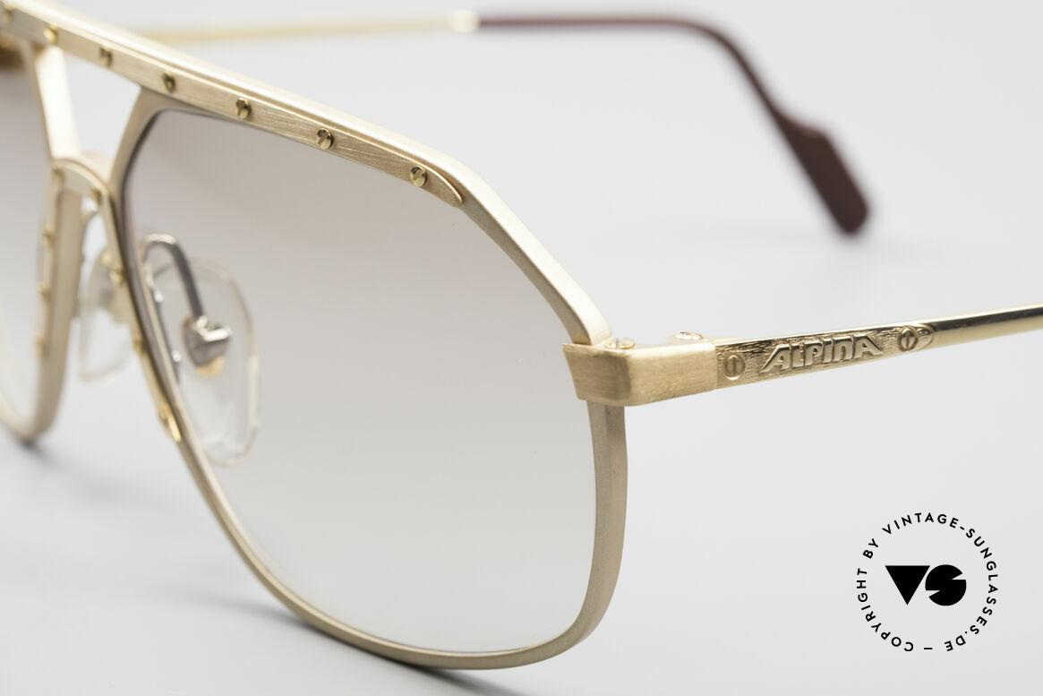 Alpina M6 Echte Alte 80er Vintage Brille, nur sehr leicht getönte Gläser (auch abends tragbar), Passend für Herren